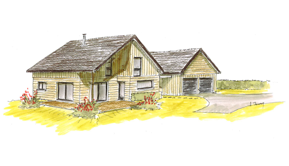 Perspective d'une maison traditionnelle à ossature bois Bole Richard