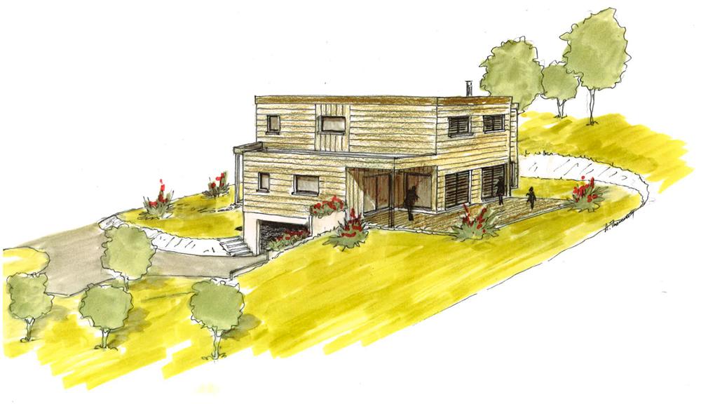 Perspective d'une maison contemporaine à ossature bois Bole Richard