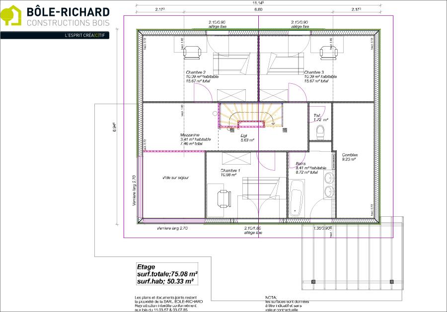 Plan étage d'une maison à ossature bois sur-mesure Bole Richard