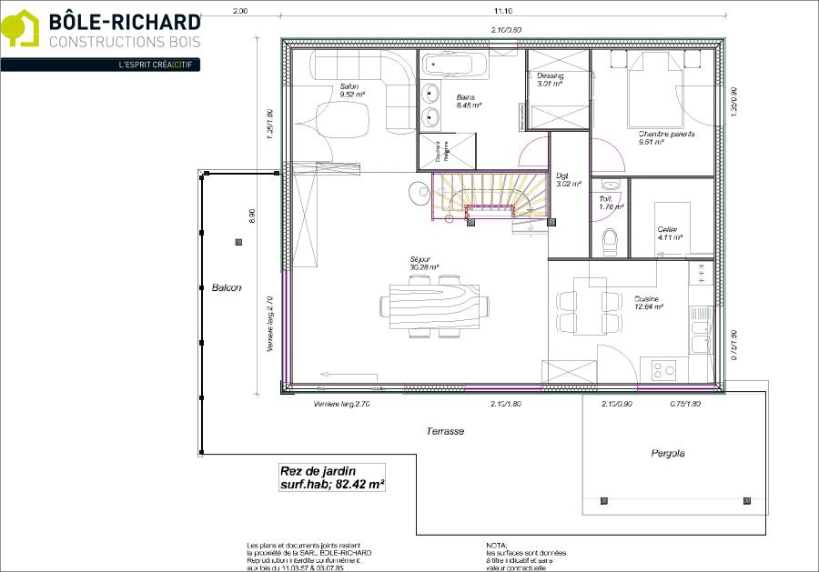 Plan rez-de-chaussée d'une maison à ossature bois sur-mesure Bole Richard
