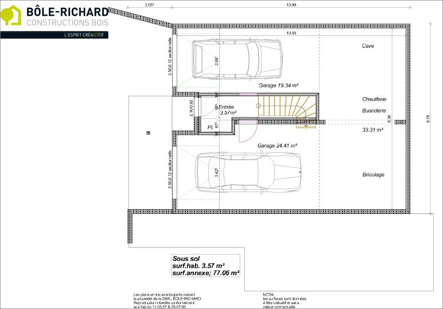 Plan sous-sol d'une maison à ossature bois sur-mesure Bole Richard