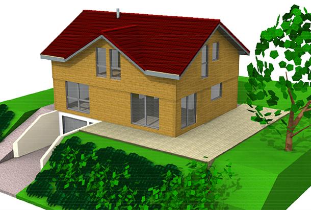 Perspective d'une maison à ossature bois Bole Richard BBC Effinergie
